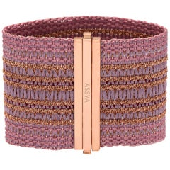 ASSYA London Silk and Rose Gold Plated Pink Woven Cuff Bracelet