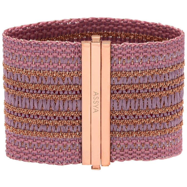 Rose Gold Vermeil and Pink & Lilac Silk Cuff Bracelet