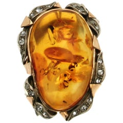 Amber Gold Old Cut Diamonds Cocktail Ring