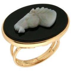 Opal Horse Gold Onyx Cocktail Ring