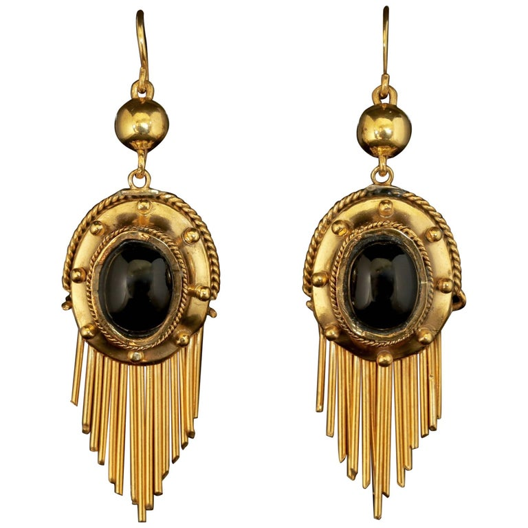 Antique Victorian Garnet Drop Earrings 18 Carat Gold Silver, circa 1900