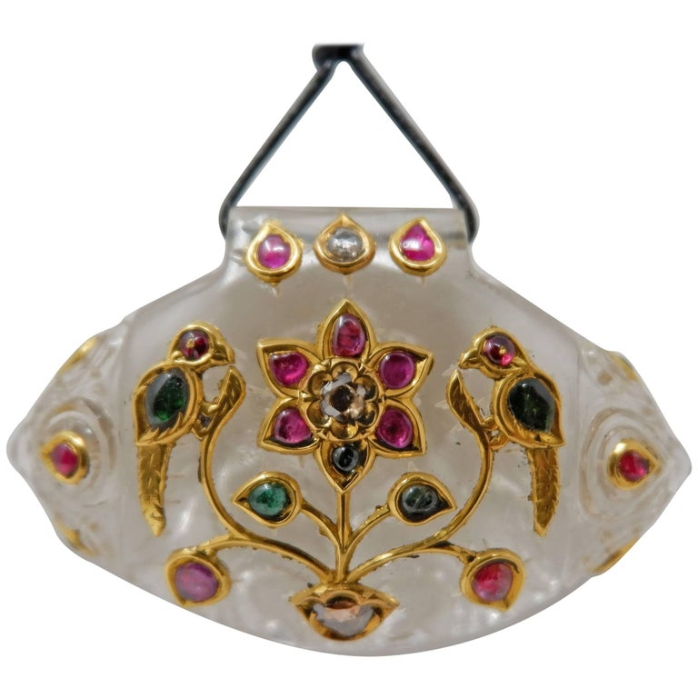 Rock Crystal Ruby Diamond and Gold Indian Pendant Necklace For Sale
