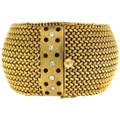 F.R.O.V. Retro Italian Diamond Ruby Sapphire Mesh Gold Bracelet