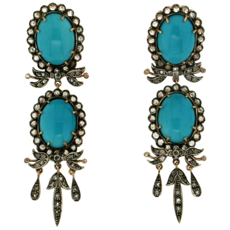 Turquoise Gold Rose-Cut Diamonds Drop Earring