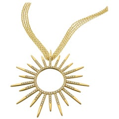 Wendy Brandes Statement Starburst 2 Carat Diamond and Gold Pendant Necklace