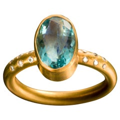 Fluorite Diamond 18 Karat Gold Ring
