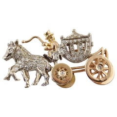 Diamonds Rose Gold and White Gold Carriage Brooch
