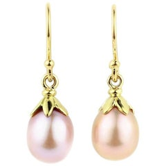 Julius Cohen Leaf Cap Pink Freshwater Pearl Earrings