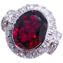 8.81 Carat Natural Red Tourmaline White Diamond Cocktail Ring