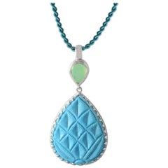 Emma Chapman Chrysoprase Turquoise Pendant