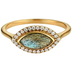 Labradorite and Diamond Halo Marquise Ring 18 Karat Yellow Gold