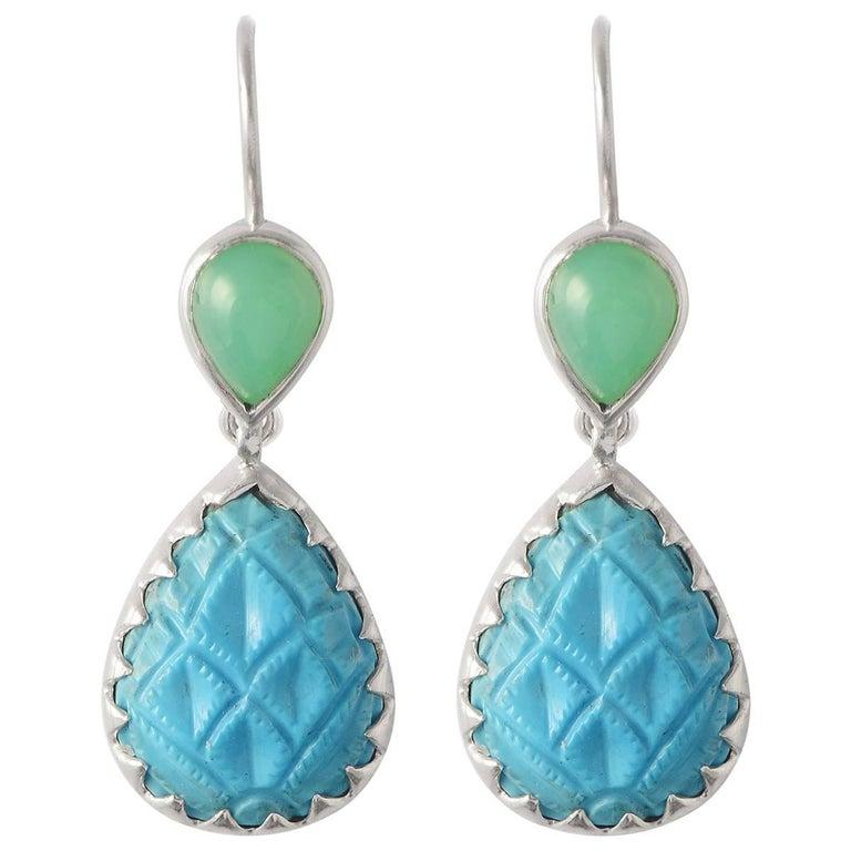 Emma Chapman Chrysoprase Turquoise Silver Earrings