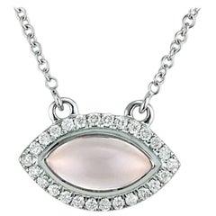 Rose Quartz and Diamond Halo Marquise Necklace 18 Karat White Gold