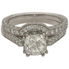 GIA Certified Cushion Cut Diamond Ring with Matching Band