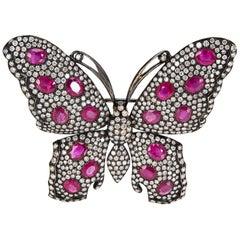 IGL Certified Diamond and Ruby Butterfly Brooch in 18 Karat Gold 6.25 Carat