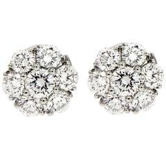 Valentin Magro Floral Diamond Cluster Platinum Earrings