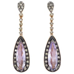 Le Vian Amethyst and Diamond Drop Earrings in Rose Gold