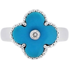 Van Cleef & Arpels Diamond and Turquoise Alhambra Ring