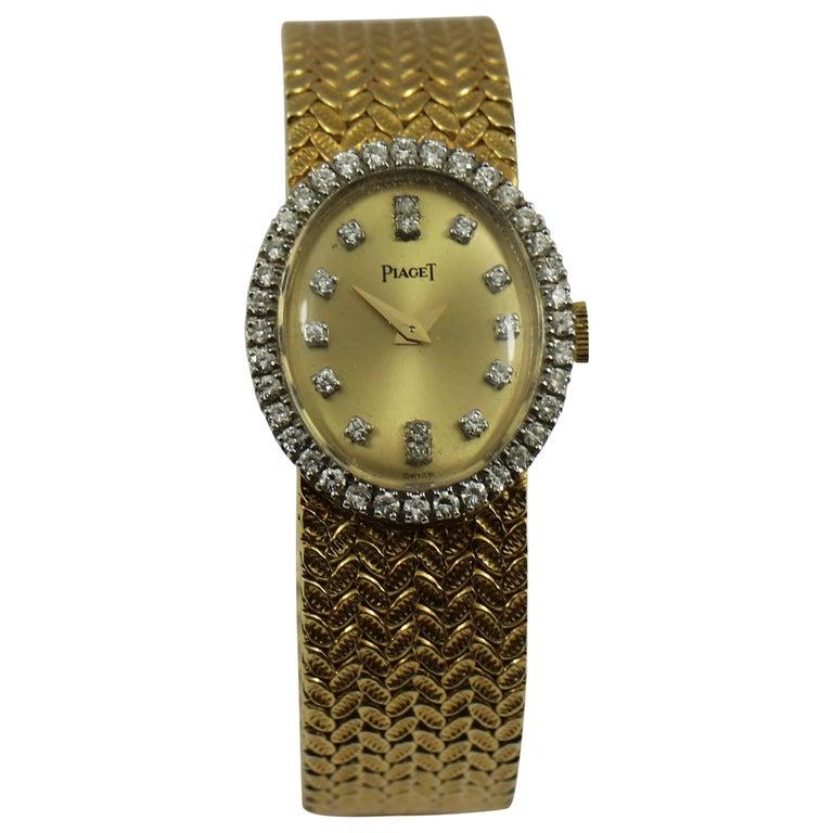 Piaget Ladies Yellow Gold Diamond Champagne Dial Wristwatch
