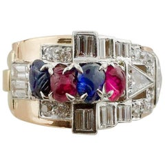 Retro and Deco Ruby, Sapphire and Diamond Ring in Rose and Platinum, circa 1940s