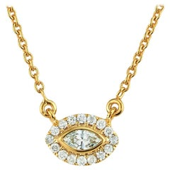 Diamond Halo Marquise East West Necklace 18 Karat Yellow Gold
