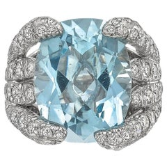 "Verdura Aquamarine ""Eight Blades"" Ring"