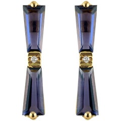 Iolite and Diamond Tapered Baguette Bow Stud Earrings 18 Karat Gold