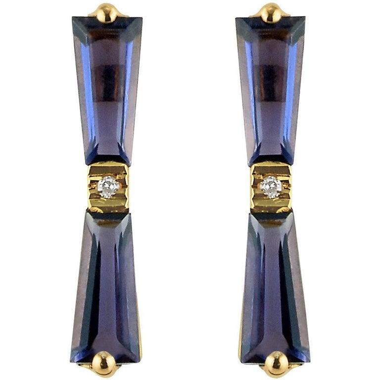 Iolite and Diamond Tapered Baguette Bow Stud Earrings 18 Karat Gold