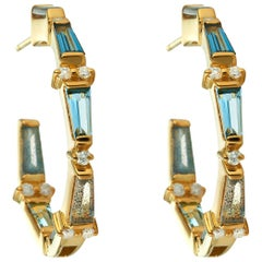 Topaz, Aqua, Labradorite and Diamond Tapered Baguette Hoops
