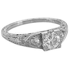 .55 Carat Diamond Antique Engagement Ring 18 Karat White Gold
