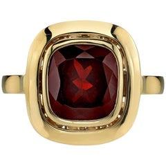 Bold Gold Garnet Ring