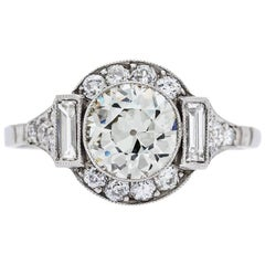 1.39 Carat Old European Cut Diamond Platinum Engagement Ring