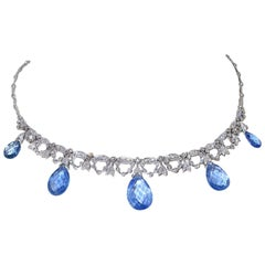 Pear Shape Briolette Sapphire and Diamond Necklace