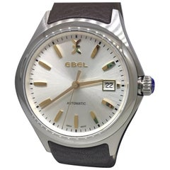 Ebel Wave Stainless Steel Silver Dial Brown Leather Band Men's Watch 1216331 New