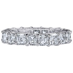 Asher Cut Platinum GIA Certified 4 Carat Diamond Ring Eternity Band