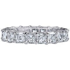 Asher Cut Platinum GIA Certified 5 Carat Diamond Ring Eternity Band