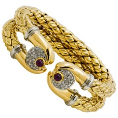 18 Karat Gold Double Open Cuff Ruby Diamond Bracelet