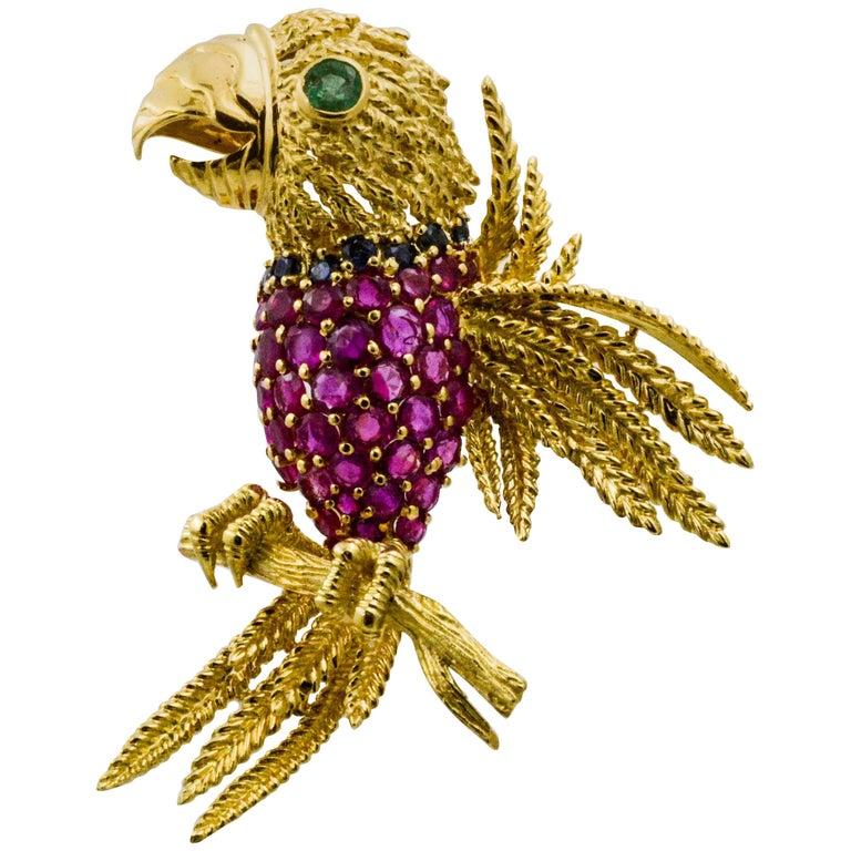 18 Karat Yellow Gold 5.70 Carat Rubies Parrot Brooch