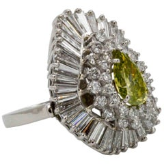 2.18 Carat Green Diamond 4.50 Carat Diamonds Platinum Ballerina Cocktail Ring
