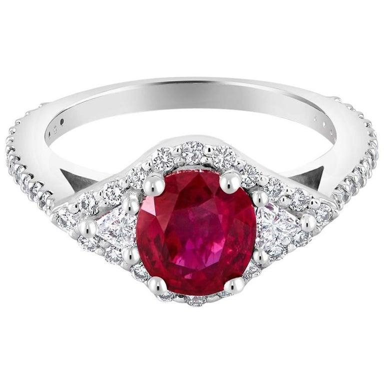 GIA Certified Burma Ruby Ring 'No Heat' Diamond Platinum Ring