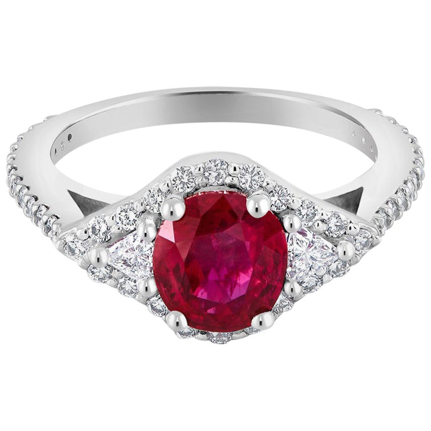 No Heat Magok Mined Burma Ruby Diamond Platinum Ring GIA Certificated