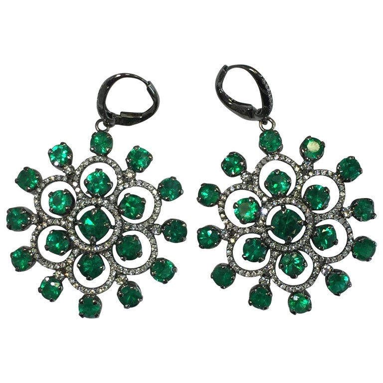 Emerald Round and White Diamond Dangle Earrings in 18 Karat White Gold
