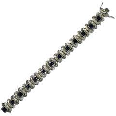 Blue Sapphire and White Diamond 18 Karat White Gold Bracelet