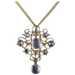 Antique Victorian Moonstone Pendant Necklace Silver Gold, circa 1880