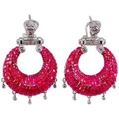 18K White gold invisible Dangling Ruby Earrings
