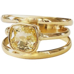 Minka Gems - The 3 Way Ring, Natural Yellow Sapphire and  Gold band Ring