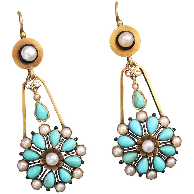 19th Century Gold, Turquoise and Pearl Earrings