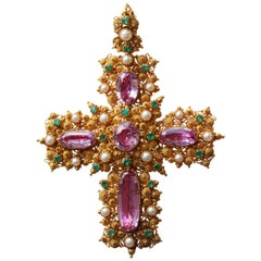 Large Georgian Pink Topaz Cross