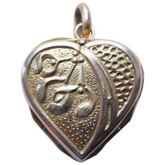French Gold Heart and Mistletoe Locket