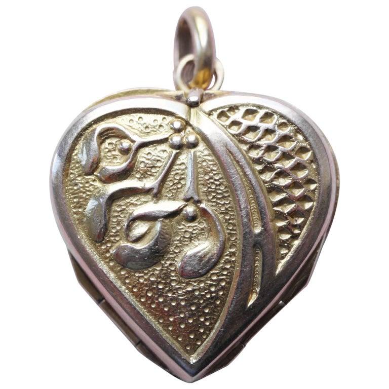 French Gold Heart and Mistletoe Locket